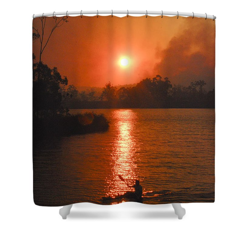 Australia Shower Curtain featuring the photograph Bushfire Sunset Over The Lake by Rodney Appleby