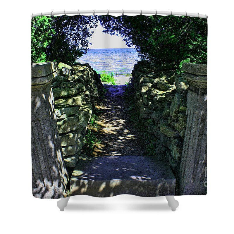 Cana Island Shower Curtain featuring the photograph Cana Island Walkway Wi by Tommy Anderson