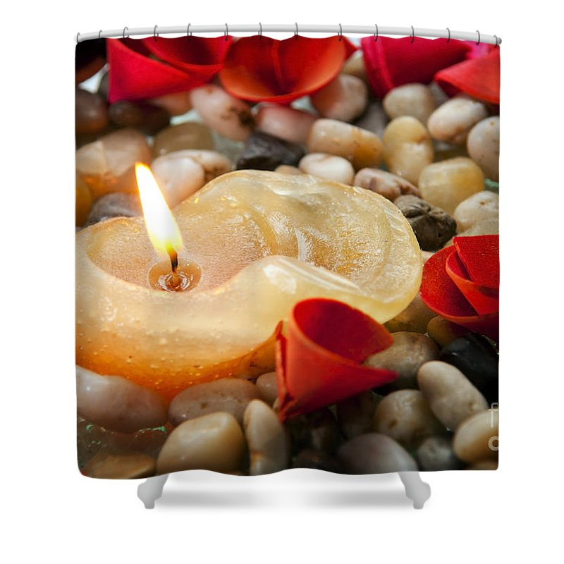 Anniversary Shower Curtain featuring the photograph Candle And Petals by Tim Hester