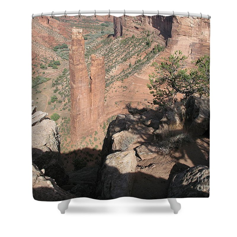 Canyon Shower Curtain featuring the photograph Canyon de Chelly Spider Rock by Christiane Schulze Art And Photography