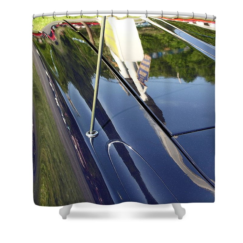 Cars Shower Curtain featuring the photograph Car Reflection by Karl Rose