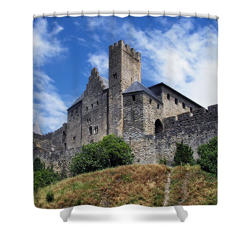 Ancient Shower Curtain featuring the photograph Carcassonne By Day by Nikolyn McDonald