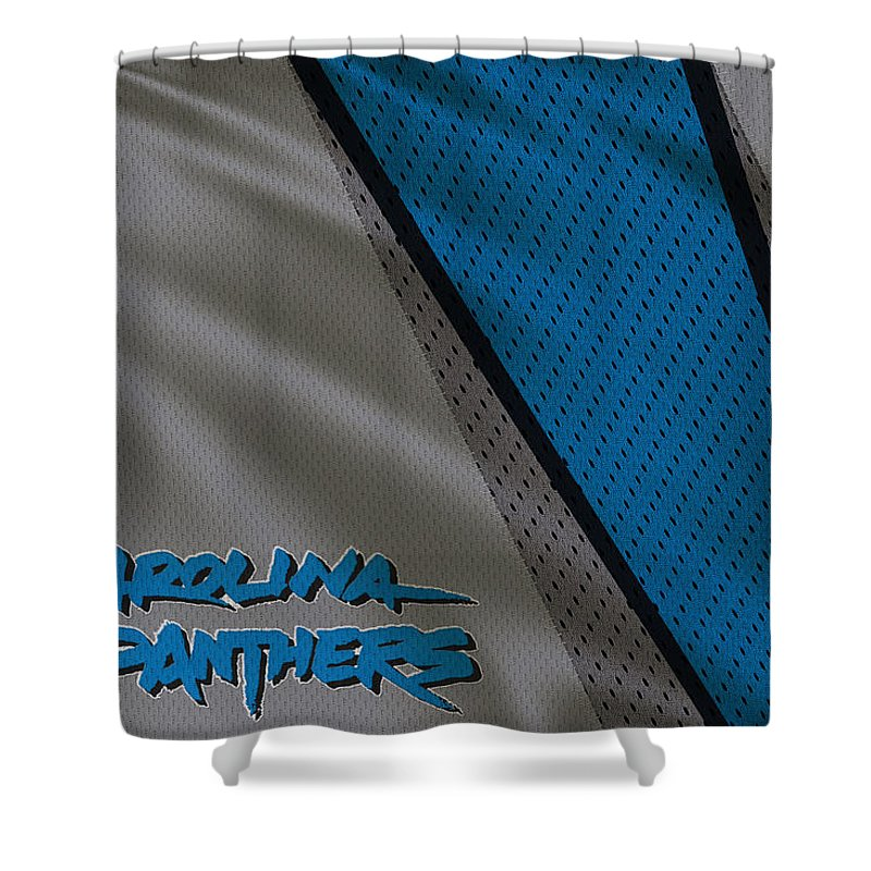 Panthers Shower Curtain featuring the photograph Carolina Panthers Uniform by Joe Hamilton
