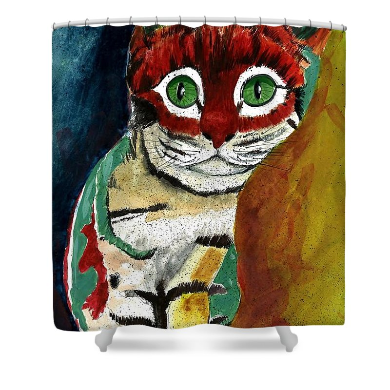 Cat Shower Curtain featuring the painting Cat Around Corner by Steven Schultz