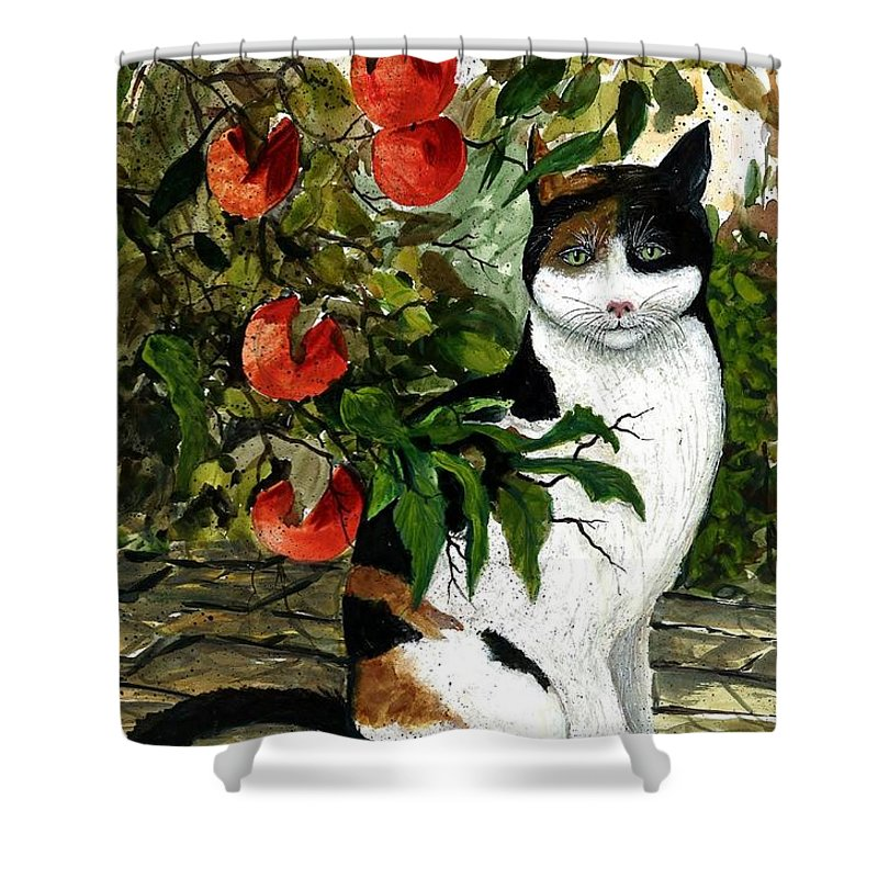 Cat Shower Curtain featuring the painting Cat On The Patio by Steven Schultz