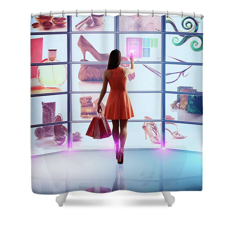 Internet Shower Curtain featuring the photograph Caucasian Woman Shopping Online by Colin Anderson Productions Pty Ltd