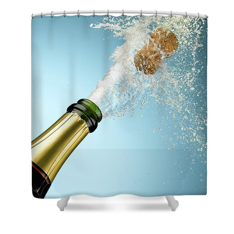 Celebration Shower Curtain featuring the photograph Champagne And Cork Exploding From Bottle by Andy Roberts