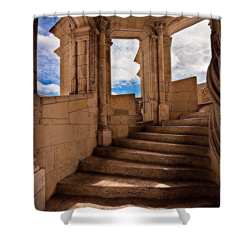 Staircase Shower Curtain featuring the photograph Chateau De Blois Staircase / Loire Valley by Barry O Carroll