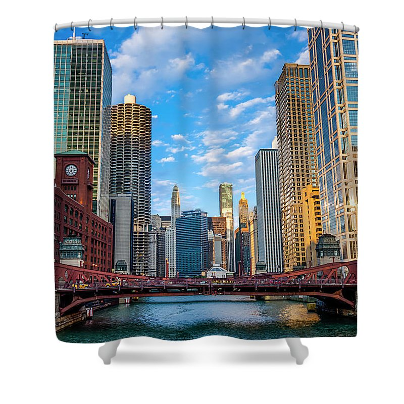 Chicago River Shower Curtain featuring the photograph Chicago River Corridor by Carl Larson Photography