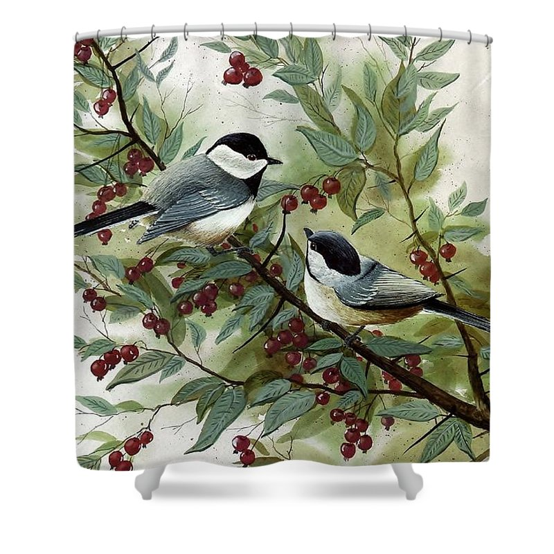 Chickadees Shower Curtain featuring the painting Chickadees And Cherries by Steven Schultz