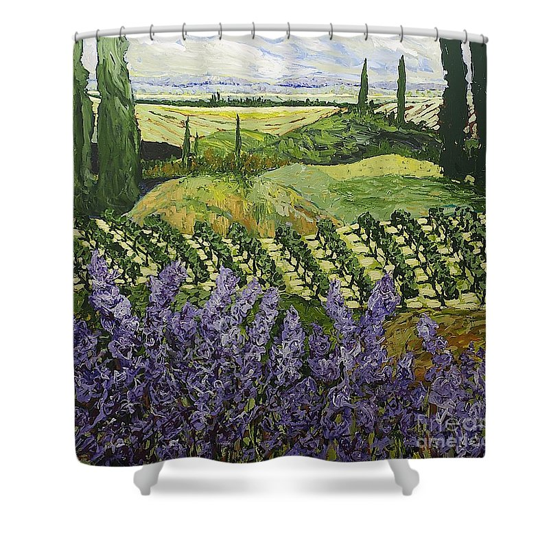 Landscape Shower Curtain featuring the painting Chinaberry Hill by Allan P Friedlander