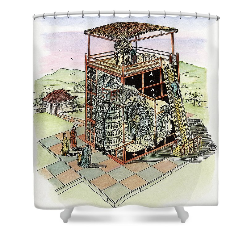 11th Century Shower Curtain featuring the drawing Chinese Astronomical Clocktower Built by Granger