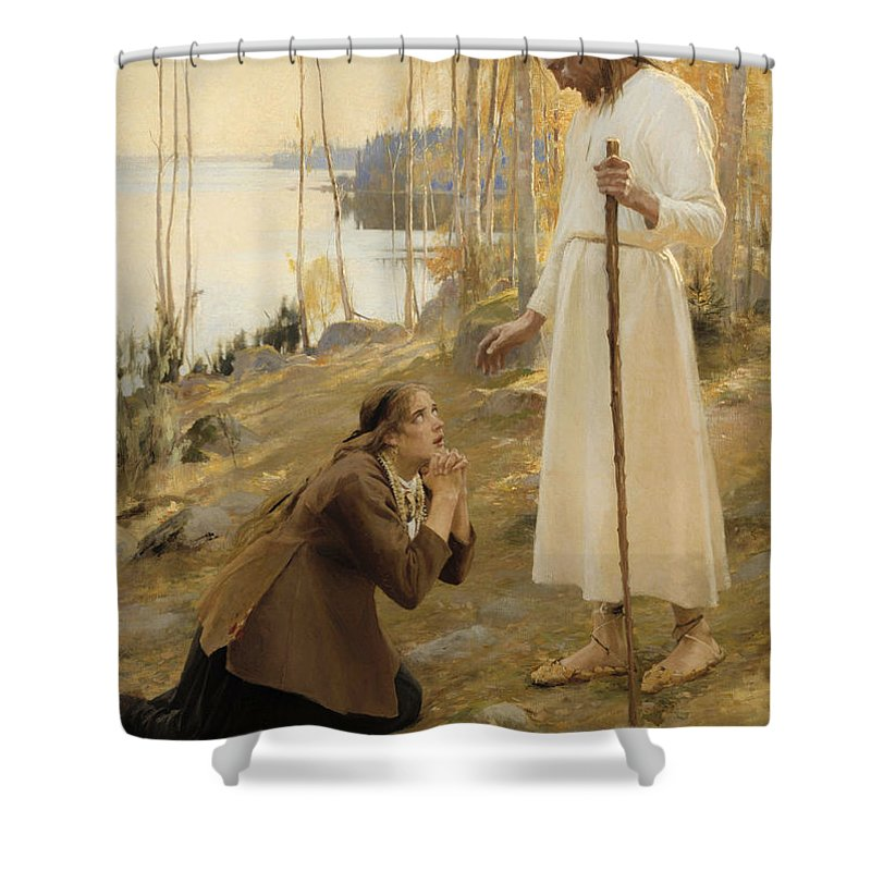 Painting Shower Curtain featuring the painting Christ And Mary Magdalene by Mountain Dreams