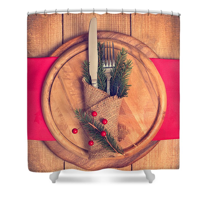 Christmas Shower Curtain featuring the photograph Christmas Table Setting by Amanda Elwell