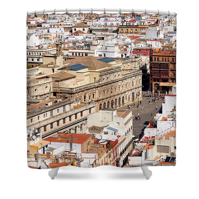 Above Shower Curtain featuring the photograph City Of Seville Cityscape In Spain by Artur Bogacki