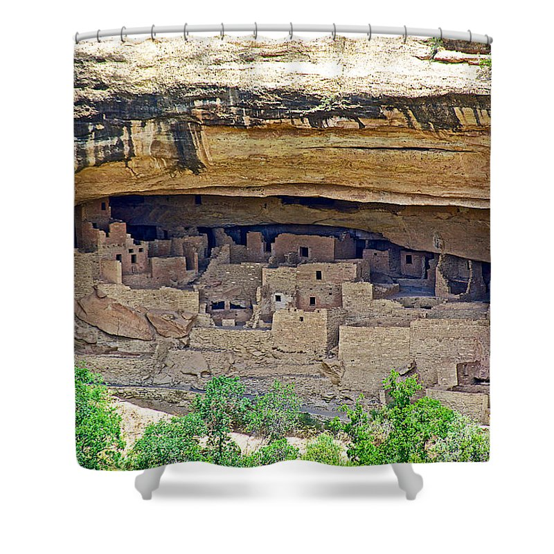 Cliff Palace From Chapin Mesa Top Loop Road In Mesa Verde National Park Shower Curtain featuring the photograph Cliff Palace From Chapin Mesa Top Loop Road In Mesa Verde National Park-colorado by Ruth Hager
