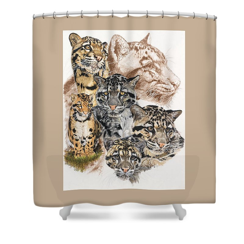 Clouded Leopard Shower Curtain featuring the mixed media Cloudburst by Barbara Keith
