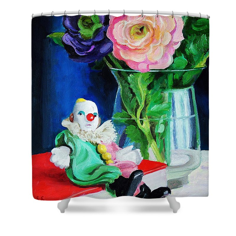 Clown And Flowers Still Life Shower Curtain featuring the painting Clown Book And Flowers by Edward Skallberg