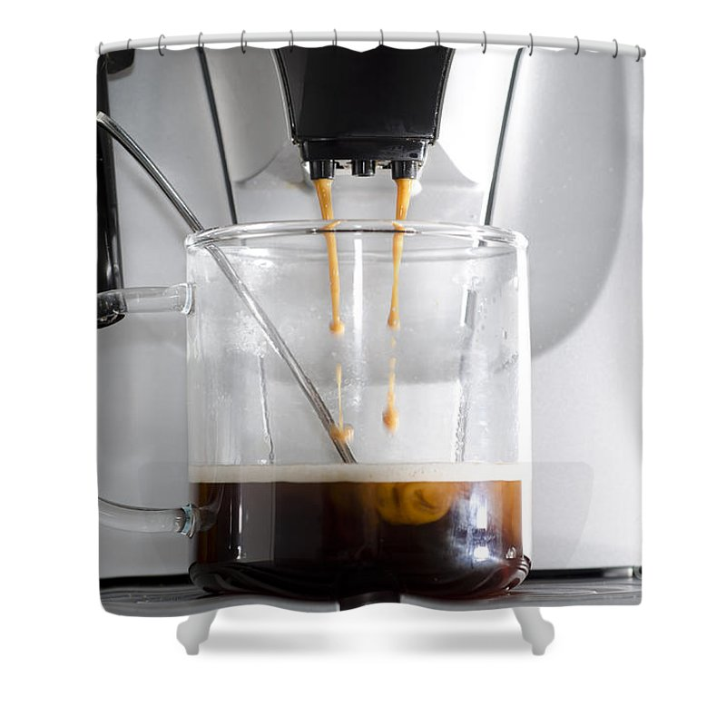 Coffee Machine Shower Curtain featuring the photograph Coffee Machine by Mats Silvan