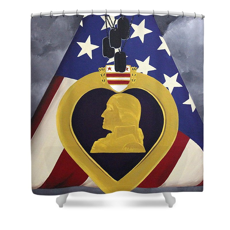 Military Painting Shower Curtain featuring the painting Cost Of Freedom by D L Gerring