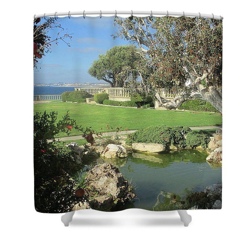 Courtyard Garden Landscape Pond Trees Rocks Stones Ocean Terrace Peaceful Calm Relaxing Shower Curtain featuring the photograph Courtyard On The Cliffs by Vivien Rhyan