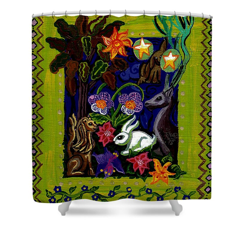 Creatures Shower Curtain featuring the painting Creatures Of The Realm by Genevieve Esson