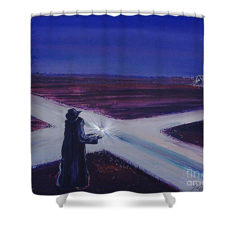 Crossroads Shower Curtain featuring the painting Crossroads by Lizi Beard-Ward