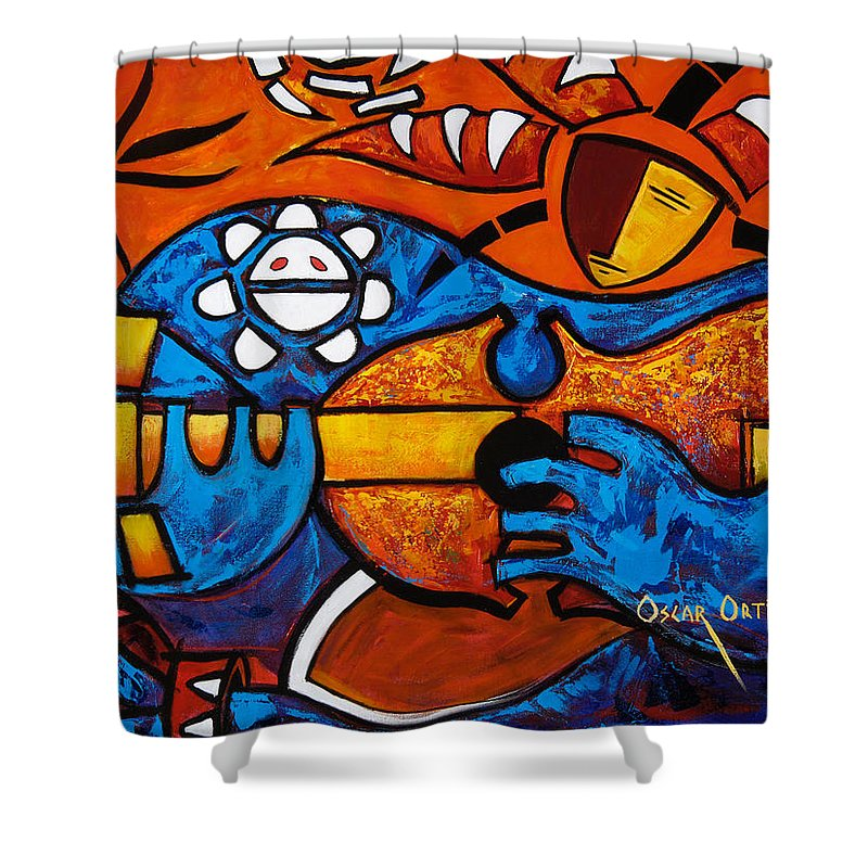 Puerto Rico Shower Curtain featuring the painting Cuatro En Grande by Oscar Ortiz
