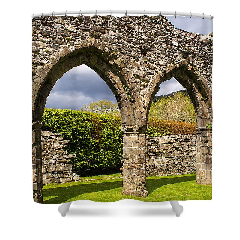 Arches Shower Curtain featuring the photograph Cymer Abbey Snowdonia by Mark Llewellyn