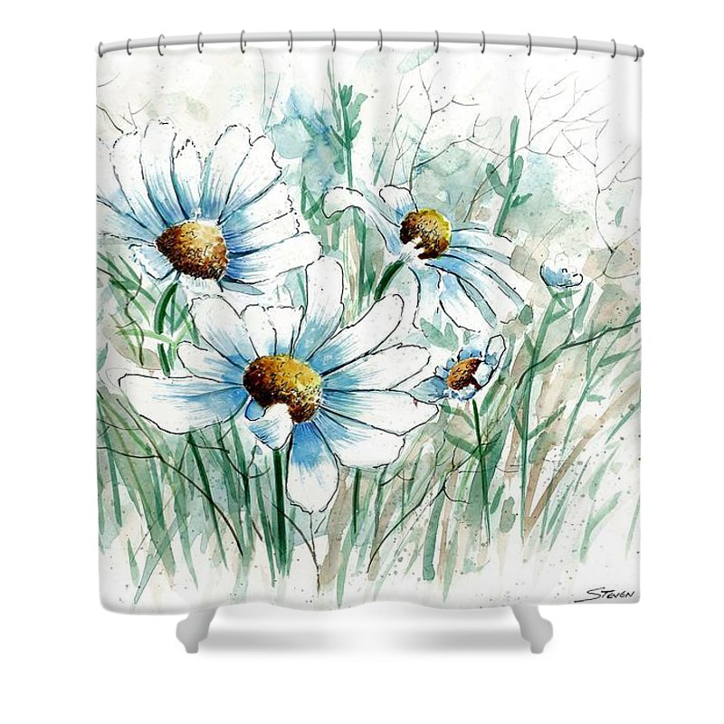 Daisy Shower Curtain featuring the painting Daisy Patch by Steven Schultz