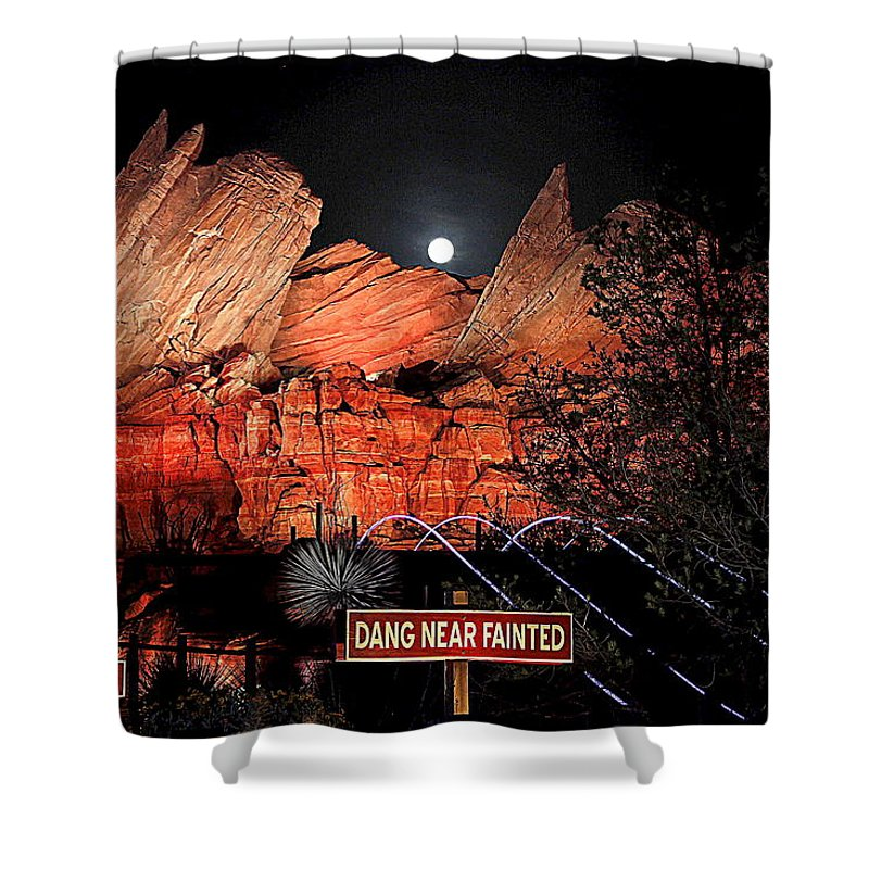 Cars Land Shower Curtain featuring the photograph Dang Near Fainted by Allison Werbicki