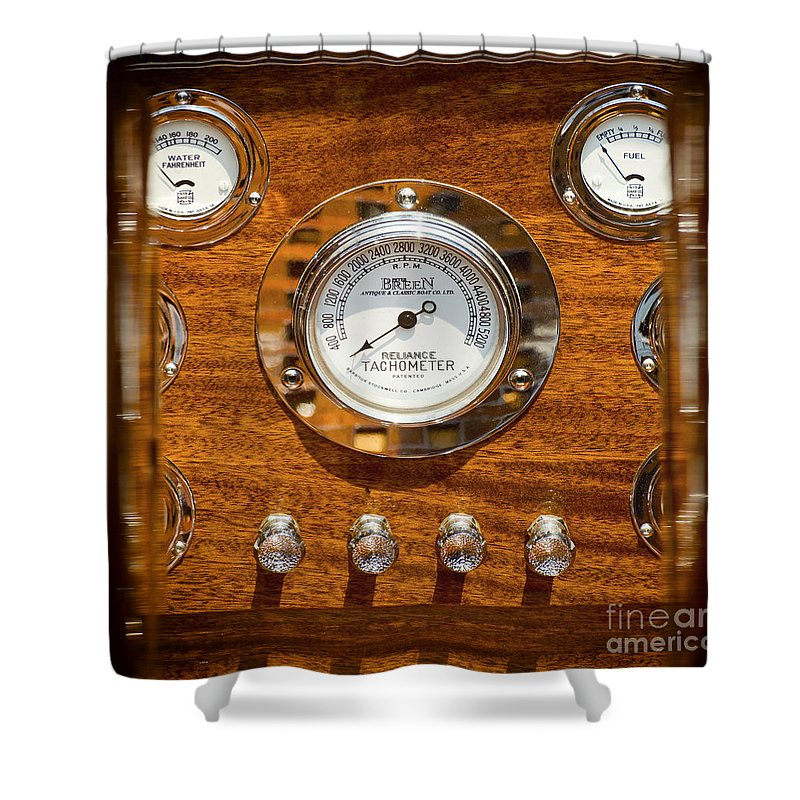 Dashboard Shower Curtain featuring the photograph Dashboard In A Classic Wooden Boat by Les Palenik