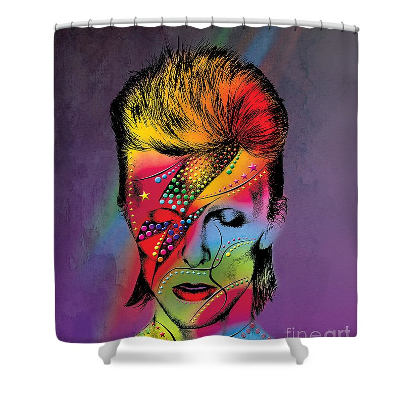 Shower Curtain featuring the photograph David Bowie by Mark Ashkenazi