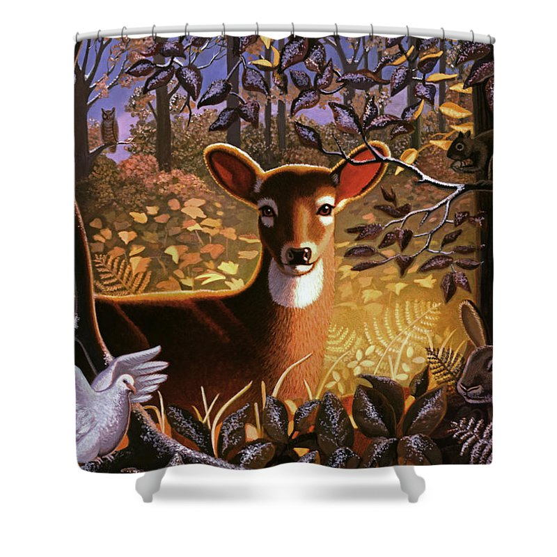 Forest Animals Shower Curtain featuring the painting Deer In The Forest by Robin Moline