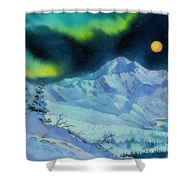 Denali Night Shower Curtain featuring the painting Denali Night by Teresa Ascone