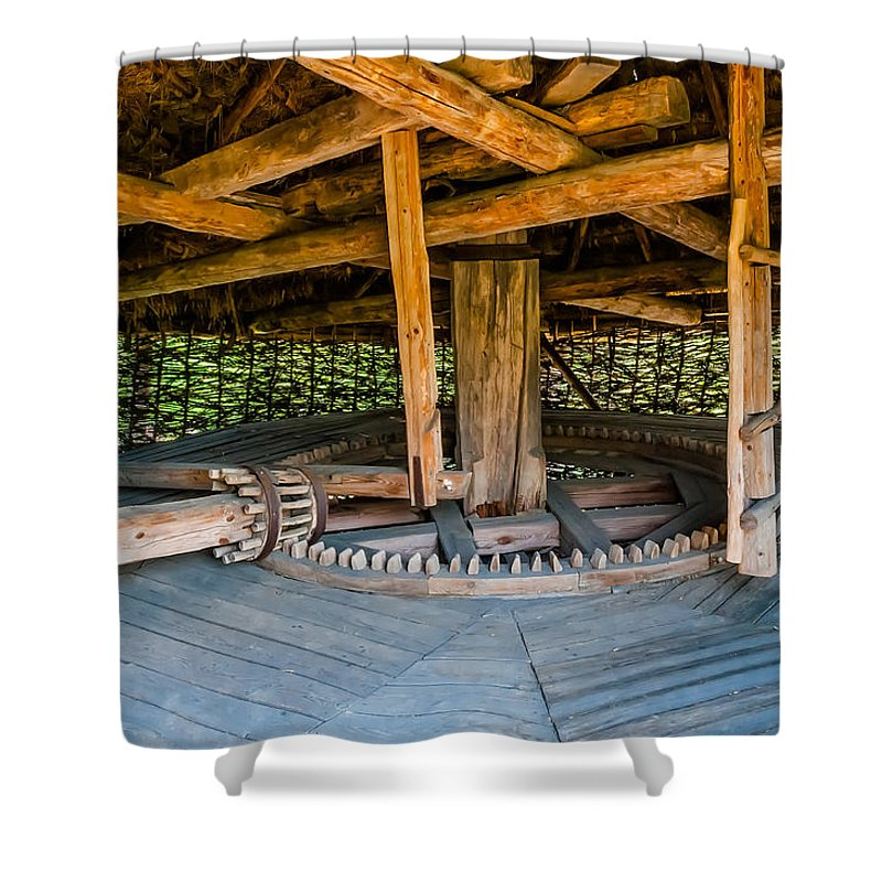 Kiev Shower Curtain featuring the photograph Detail Of A Typical Ukrainian Antique Mill by Alain De Maximy