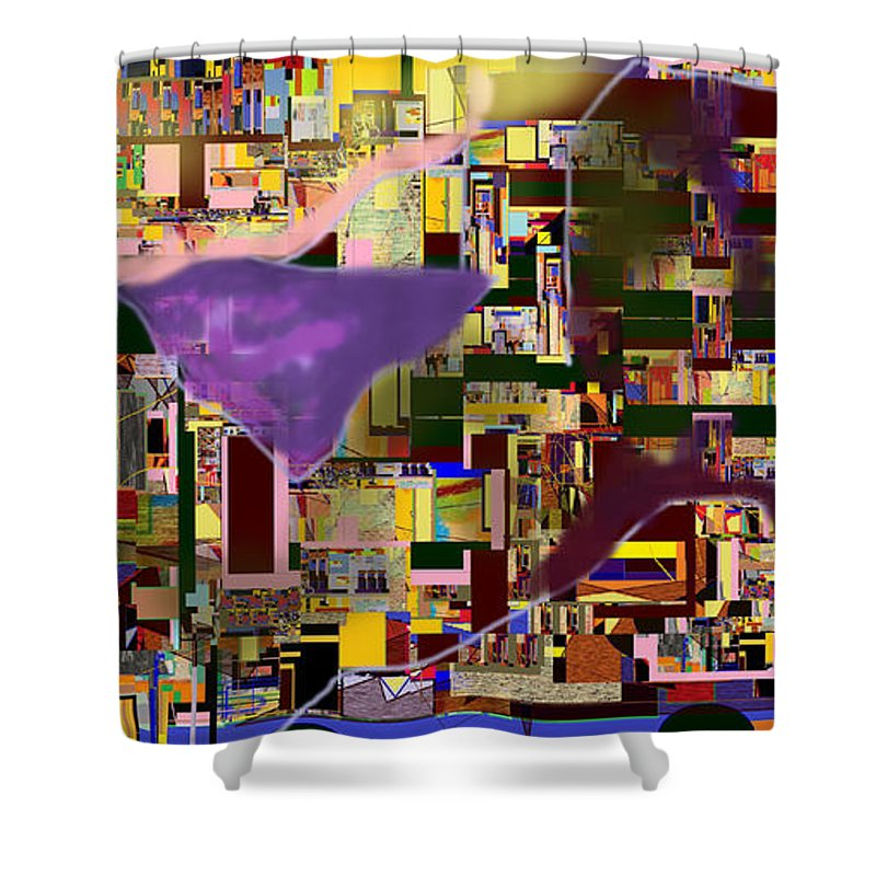 Torah Shower Curtain featuring the digital art Divinely Blessed Marital Harmony 16a by David Baruch Wolk