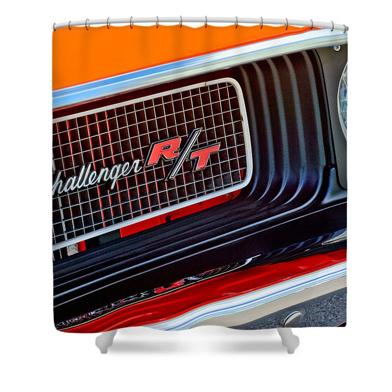 Dodge Challenger Rt Grille Emblem Shower Curtain featuring the photograph Dodge Challenger Rt Grille Emblem by Jill Reger