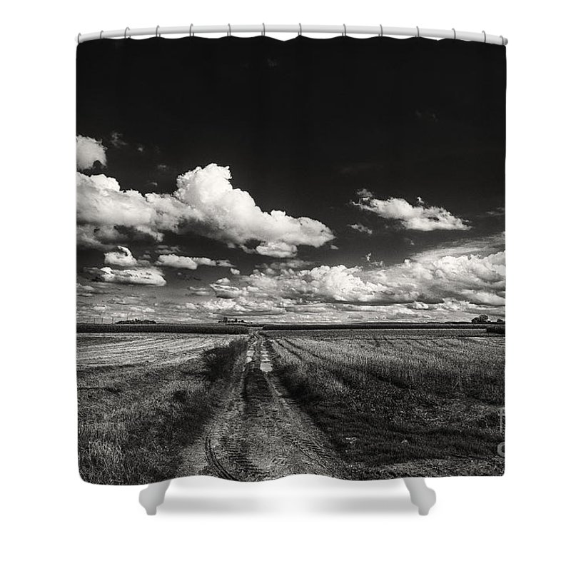 Blue Skies Landscape Shower Curtain featuring the photograph Drifting Clouds by Brothers Beerens