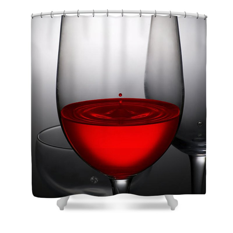 Abstract Shower Curtain featuring the photograph Drops Of Wine In Wine Glasses 1 by Setsiri Silapasuwanchai