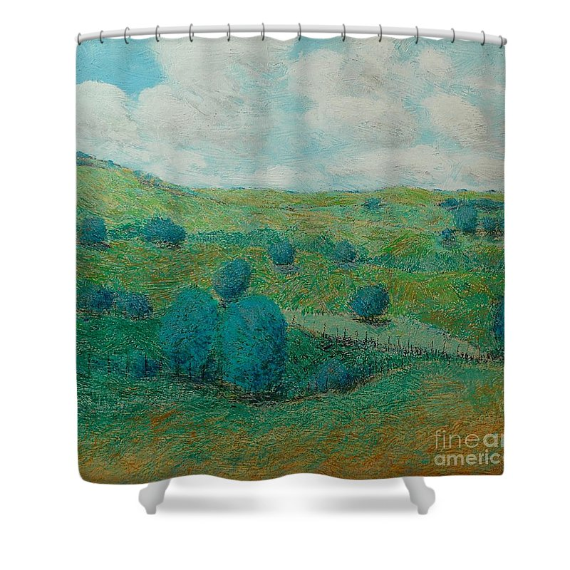 Landscape Shower Curtain featuring the painting Dry Hills by Allan P Friedlander