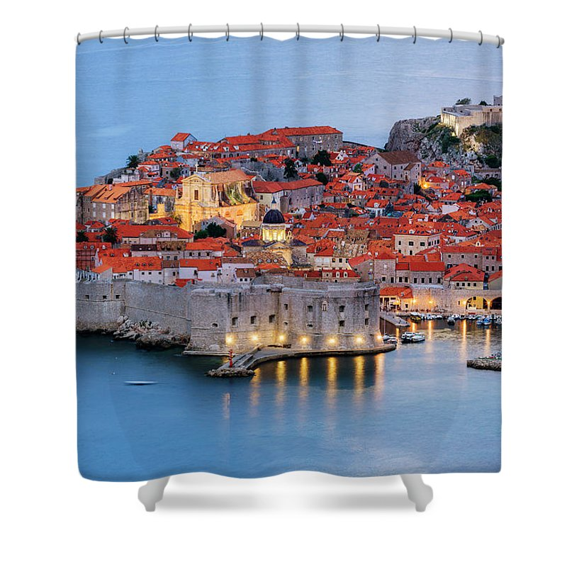 Scenics Shower Curtain featuring the photograph Dubrovnik City Skyline At Dawn by Pixelchrome Inc
