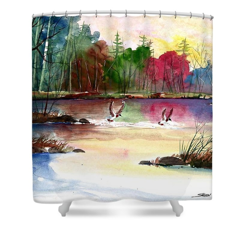 Duck Lake Shower Curtain featuring the painting Duck Lake by Steven Schultz