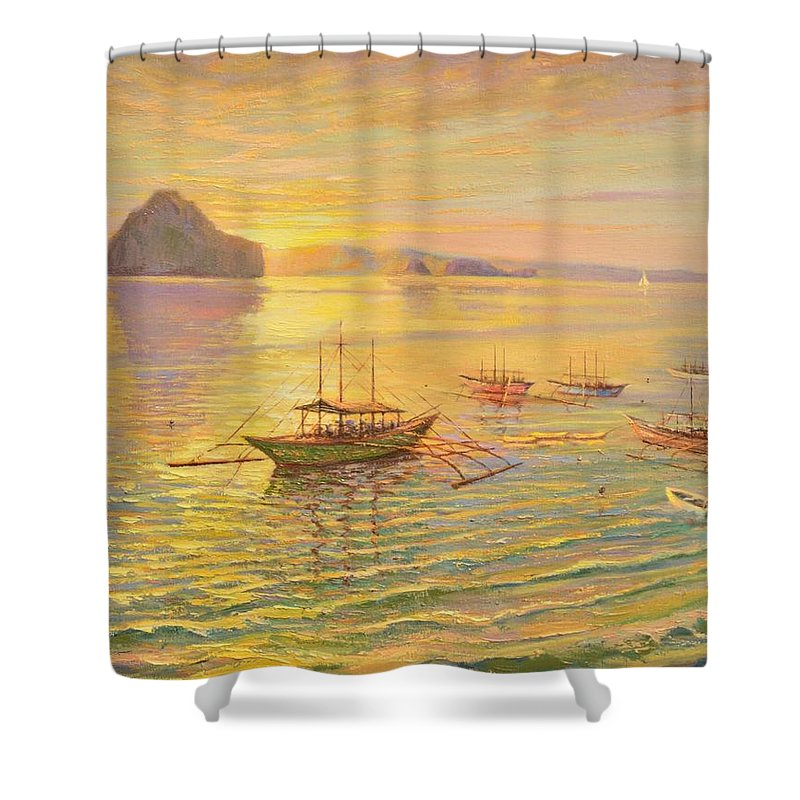 Sunrise Shower Curtain featuring the painting El Nido Sunrise by Yinguo Huang