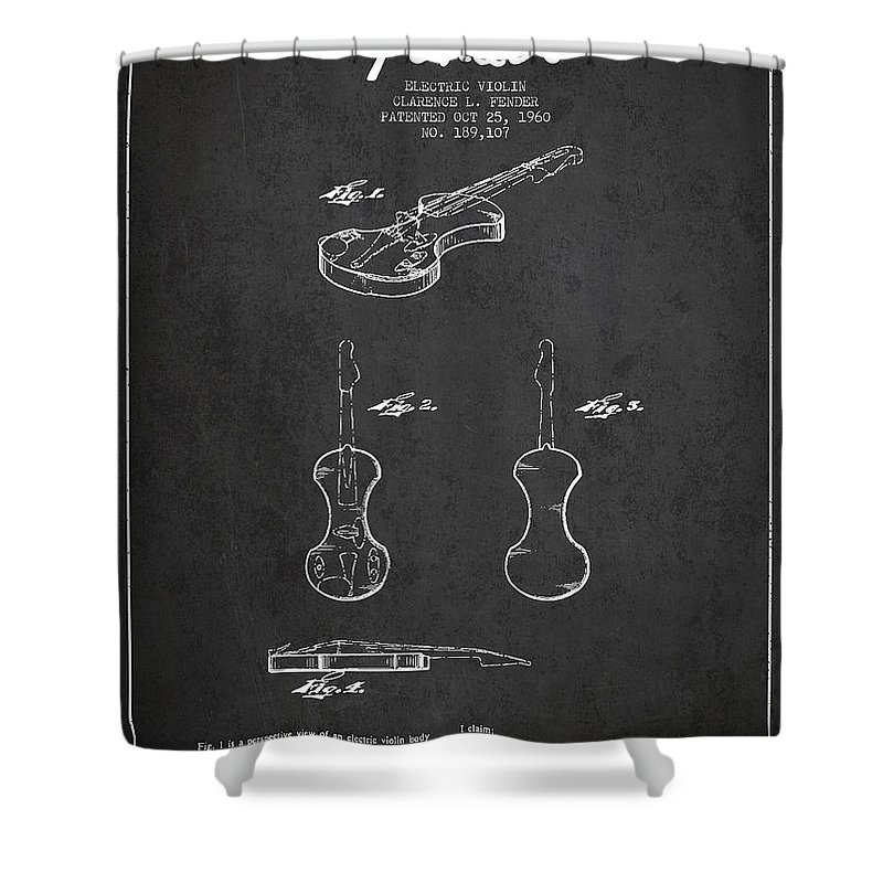 Violin Shower Curtain featuring the digital art Electric Violin Patent Drawing From 1960 by Aged Pixel