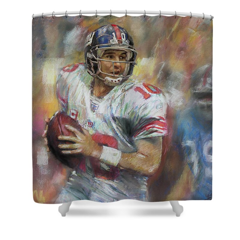 Eli Manning Shower Curtain Featuring The Drawing Nfl Ny Giants By Viola El