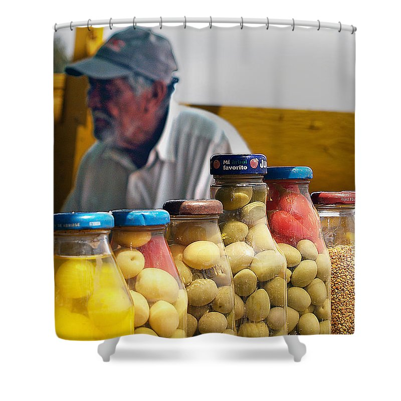 Olives Shower Curtain featuring the photograph Ensenada Olive Stand 03 by Jeff Brunton