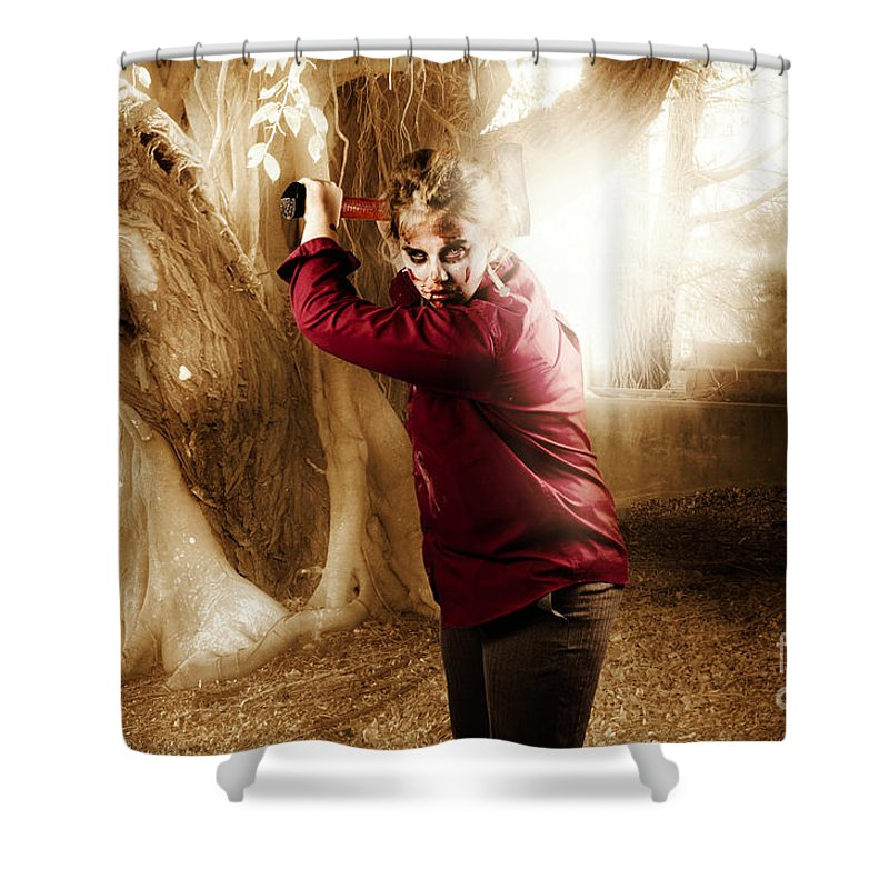 Axe Shower Curtain Featuring The Photograph Evil Female Ghoul With Weapon Murderer By Jorgo