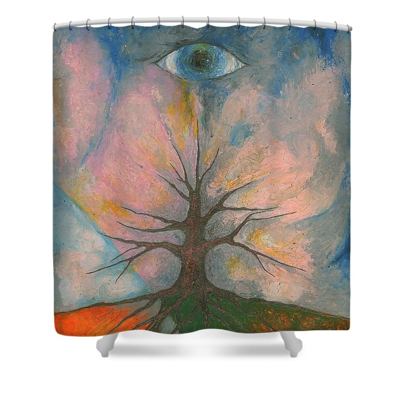 Colour Shower Curtain featuring the mixed media Eye by Wojtek Kowalski