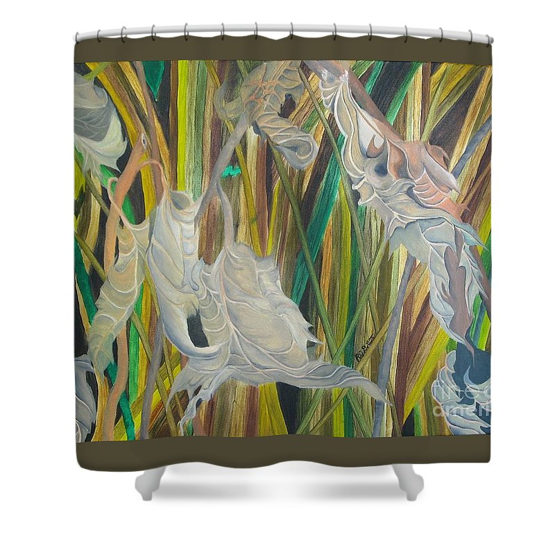 Shower Curtain featuring the painting Fall Leafs Won by Richard Dotson